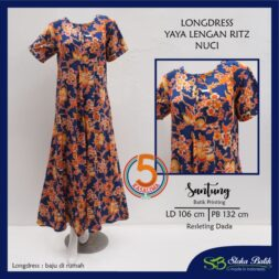 longdress-yaya-lengan-ritz-santung-batik-printing-resleting-dada-sloka-batik-nuci-biru-kasa-lima-kasalima-kasa-lima-solo