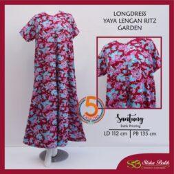 longdress-yaya-lengan-ritz-santung-printing-soka-batik-garden-merah-kasa-lima-kasalima-solo