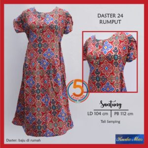daster-24-santung-printing-tali-samping-kancing-dada-kuda-mas-rumput-merah-kasa-lima-kasalima-kasa-lima-solo