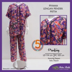piyama-lengan-pendek-celana-panjang-kancing-dada-saku-depan-printing-santung-sloka-batik-pistia-ungu-kasa-lima-kasalima-kasa-lima-solo